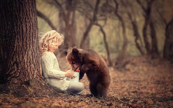 Wallpaper Child girl and bear cub, friends