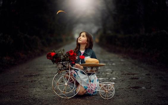 Wallpaper Child girl, toy bike, flowers, hat