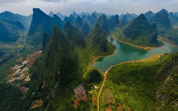 Papéis de Parede China, Parque Nacional do Rio Guilin Lijiang, montanhas, rio, verde, vista de cima