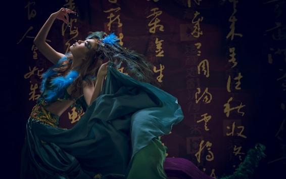 壁紙 中国のダンス・ガール、レトロスタイル