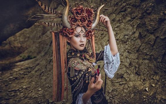Fond d'écran Fille chinoise, cornes, coiffure, décoration