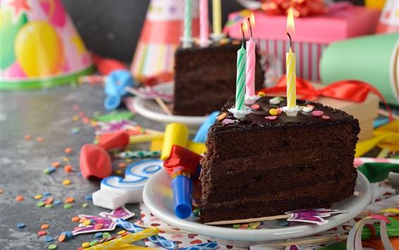 Papéis de Parede Bolo de chocolate, velas, chama, Aniversário