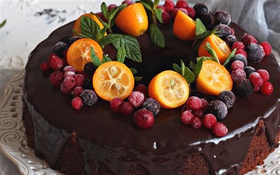 Wallpaper Chocolate cake, kumquat, berries