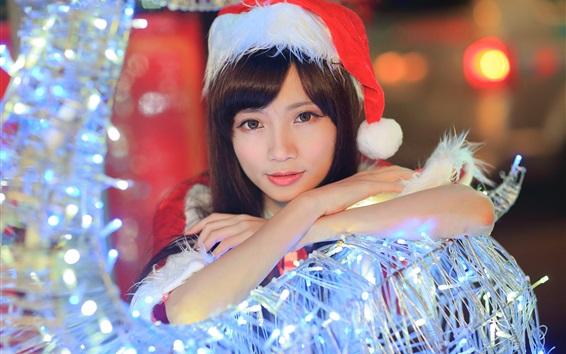 Wallpaper Christmas Asian girl, hat, lights