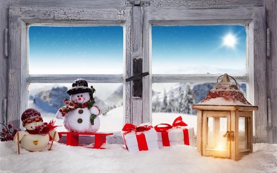 Wallpaper Christmas, snowman, snow, window, lamp, gift