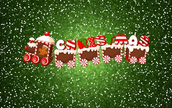 Wallpaper Christmas, train, snow, art picture