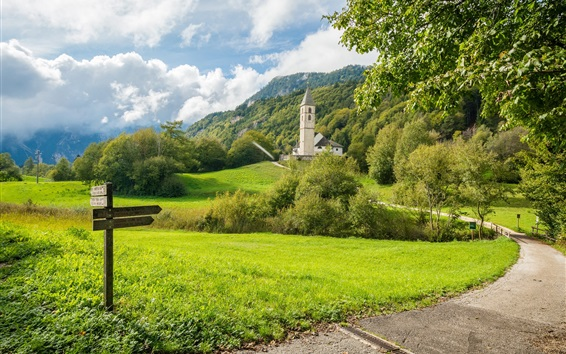 Fond d'écran Église de San Leonardo, Alto Adige, Italie, route, champs, arbres