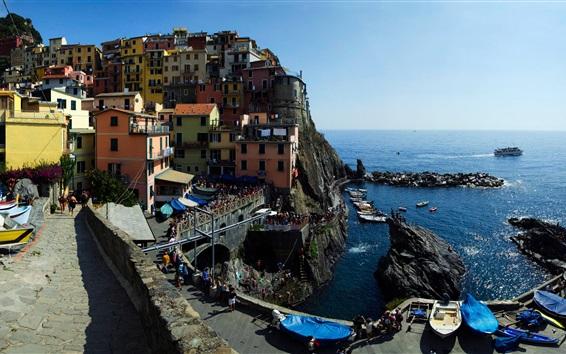 Wallpaper Cinque Terre, Manarola, Italy, Ligurian coast, rocks, sea, houses, people