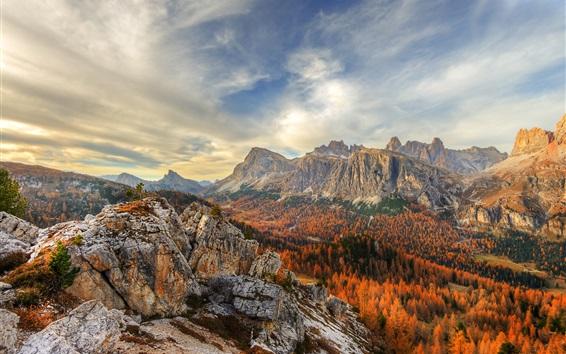 Wallpaper Cinque Torri, Dolomites, Italy, beautiful autumn landscape, mountains, trees