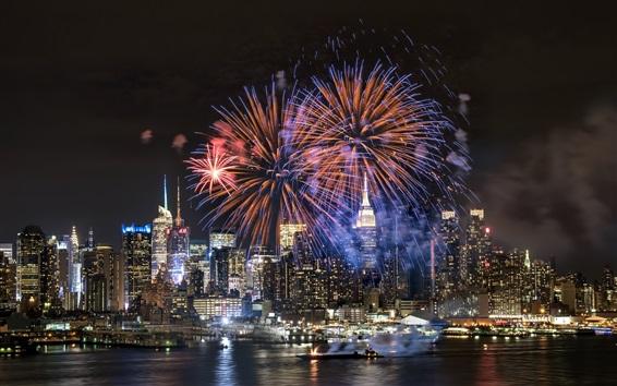 Wallpaper City night, fireworks, river, skyscrapers