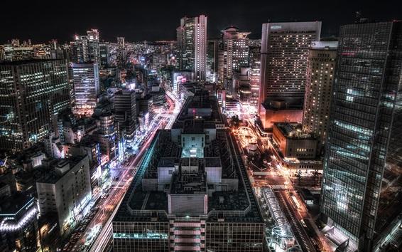 Papéis de Parede Cidade noite, luzes, estradas, arranha-céus, Osaka, Japão