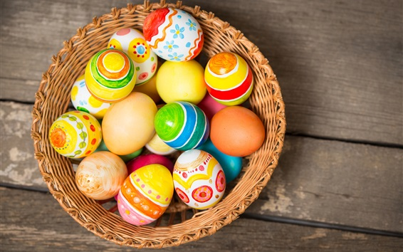 Wallpaper Colorful Easter eggs, basket, holiday