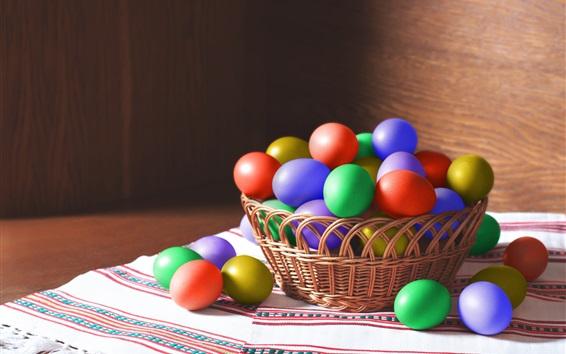 Wallpaper Colorful Easter eggs, basket, light
