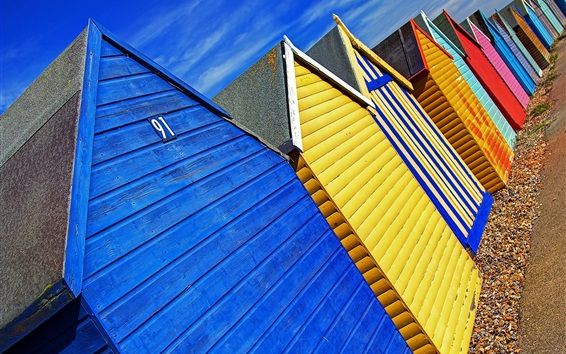 Papéis de Parede Cabanas de praia coloridas, Herne Bay, Kent, Inglaterra