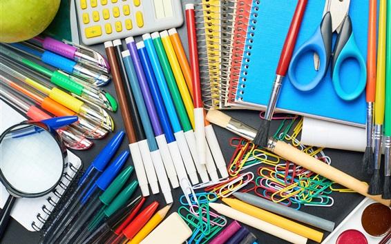 Fondos de pantalla Lápices de colores, pincel, tijeras, cuaderno, calculadora, clip de papel