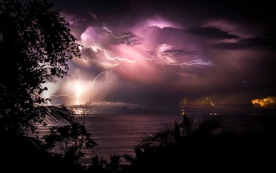 Wallpaper Costa Rica, night, sea, clouds, lightning