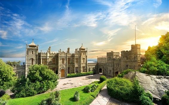 Papéis de Parede Crimea, palácio de Vorontsov, árvores, nuvens, sol, verão
