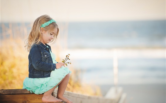 Wallpaper Cute child girl play flowers