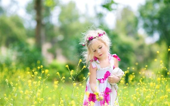 Wallpaper Cute child girl, rapeseed flowers