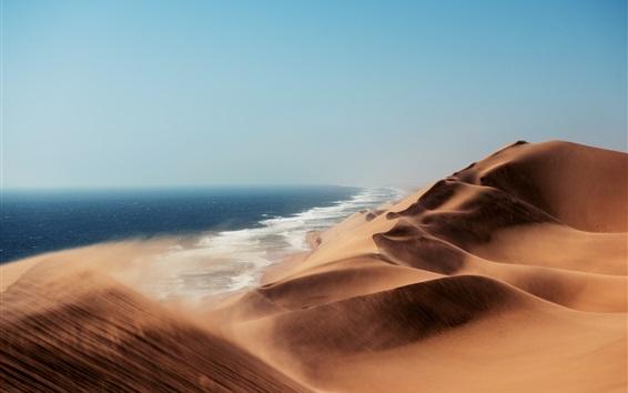 Обои Пустыня, ветер, дюны, озеро