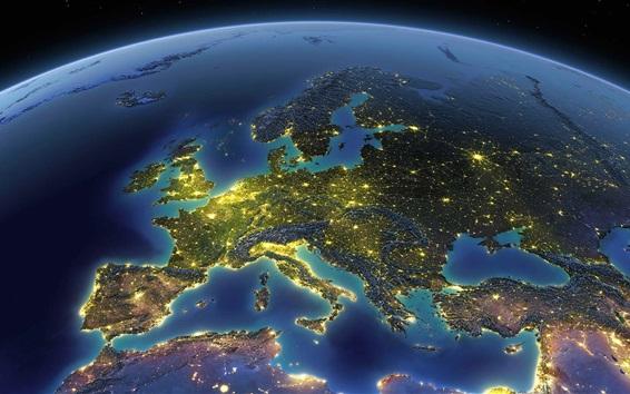 Fond d'écran Terre, planète, espace, Europe, mer Méditerranée, lumière