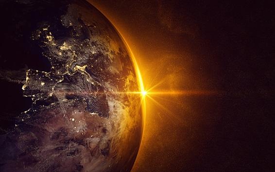 Wallpaper Earth, planet, sun, space