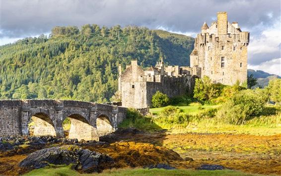 Wallpaper Eilean Donan Castle, Scotland, bridge, trees, clouds