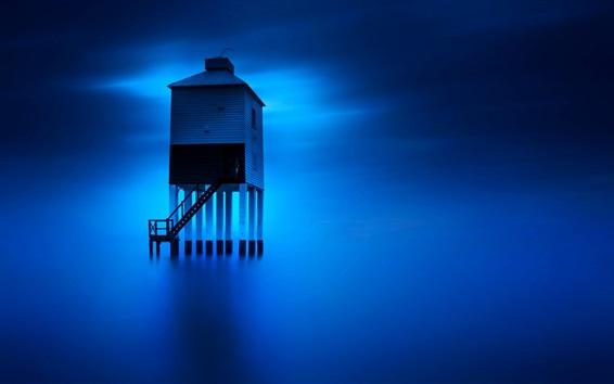Papéis de Parede Inglaterra, torre, mar azul, nuvens