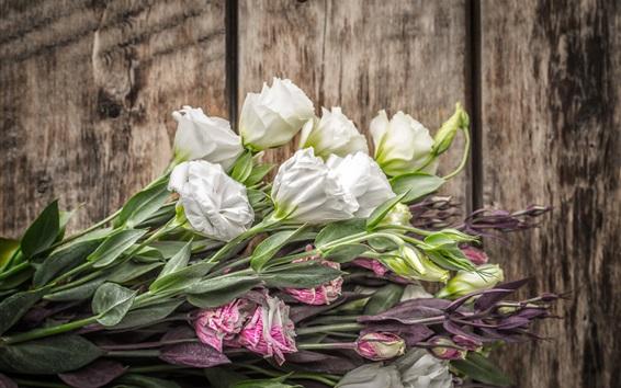 배경 화면 Eustoma 꽃, 꽃다발, 목재 보드
