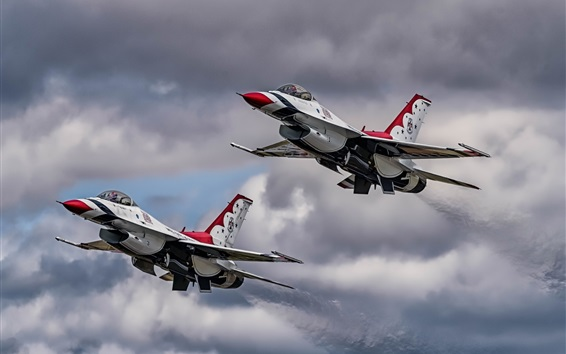 Wallpaper F-16 aircraft, Thunderbirds, flight, sky