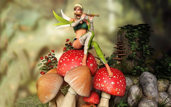 Wallpaper Fairy, girl play flute, mushrooms