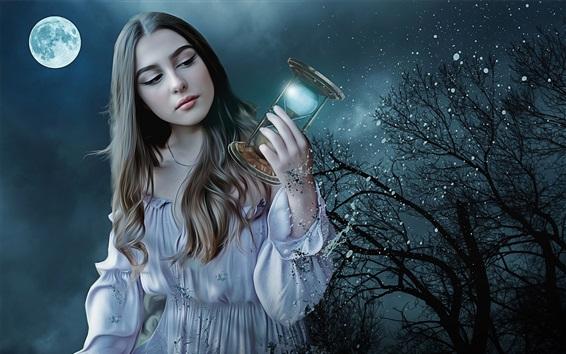 Wallpaper Fantasy girl at night, hourglass, moon, trees