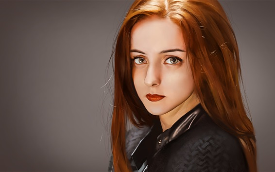 Wallpaper Fantasy red hair girl, look