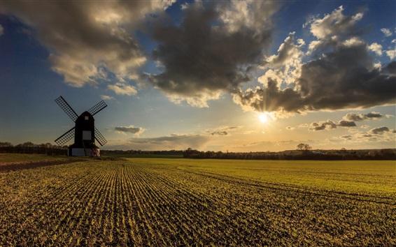 Wallpaper Farmland, fields, windmill, clouds, sunset