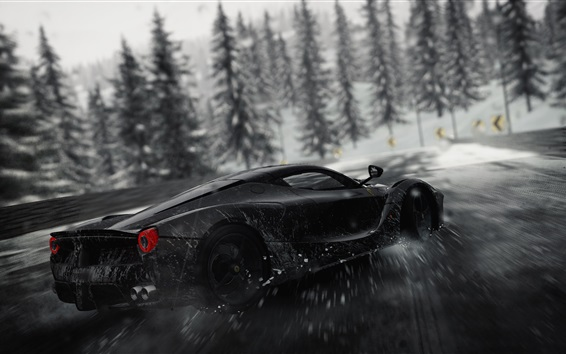 Wallpaper Ferrari black supercar speed, drift