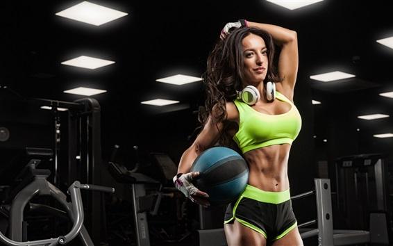 Wallpaper Fitness female, girl, ball, headphones