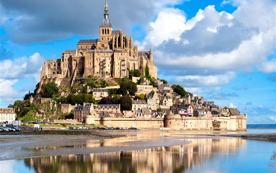 Wallpaper France, Mont Saint Michel, castle, fortress, river