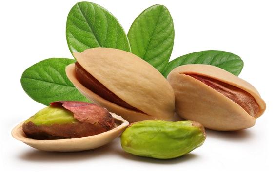 Wallpaper Fresh pistachios, nuts, white background