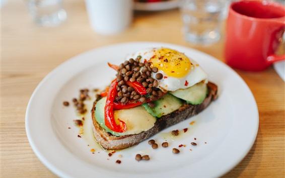 Wallpaper Fried eggs, steak, breakfast