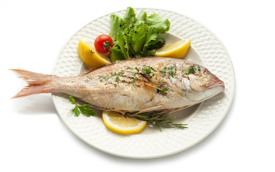 Wallpaper Fried fish, food, white background