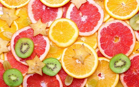 Papéis de Parede Fatias de frutas, grapefruit, uvas, cítricos, laranja, kiwi