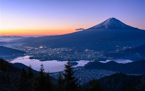 Papéis de Parede Fuji, montanha, Japão, cidade, rio, anoitecer