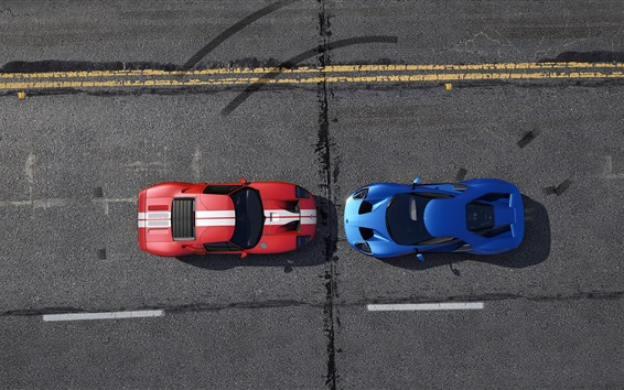 Wallpaper GTA 5, blue and red racing cars top view