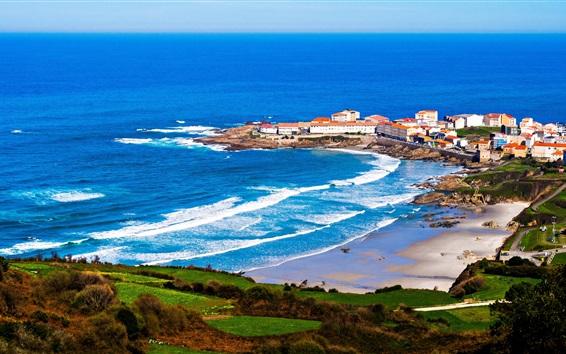 Papéis de Parede Galiza, Espanha, Cabo, casas, mar, ondas