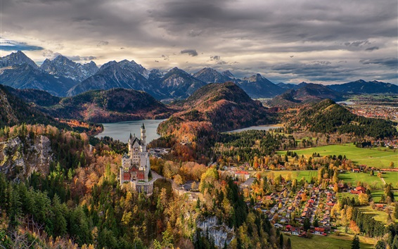 Wallpaper Germany, Bavaria, trees, Neuschwanstein Castle, town, mountains, clouds