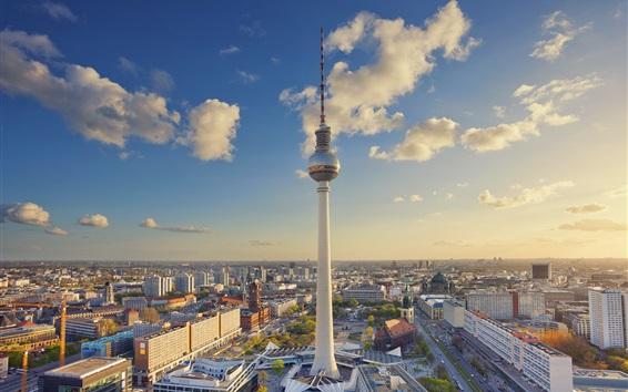 Papéis de Parede Alemanha, Berlim, Alexanderplatz, torre, cidade