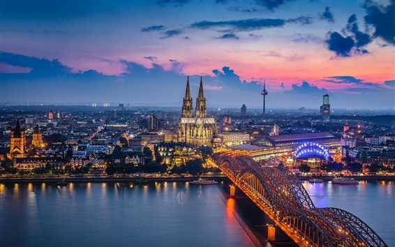 Wallpaper Germany, Cologne, cathedral, bridge, river, lights, night, city