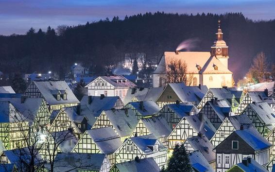 Wallpaper Germany, Freudenberg, houses, roof, night, snow, winter