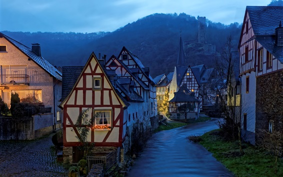 Wallpaper Germany, Monreal, evening, houses, river, lights