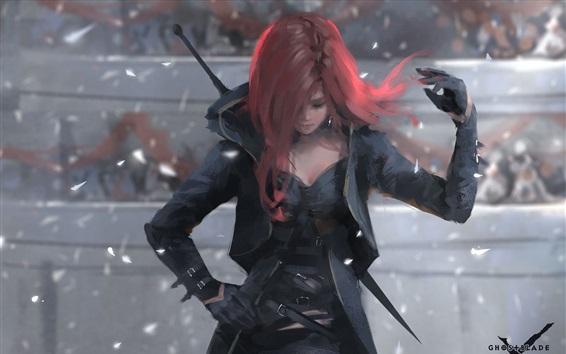 Fondos de pantalla Espada fantasma, daga, Dark Souls, chica pelirroja, imagen artística